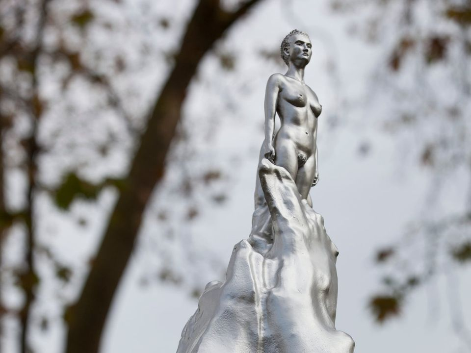 Image of a Silvered bronze work by the British sculptor Maggi Hambling shows a naked woman emerging from a swirling mass