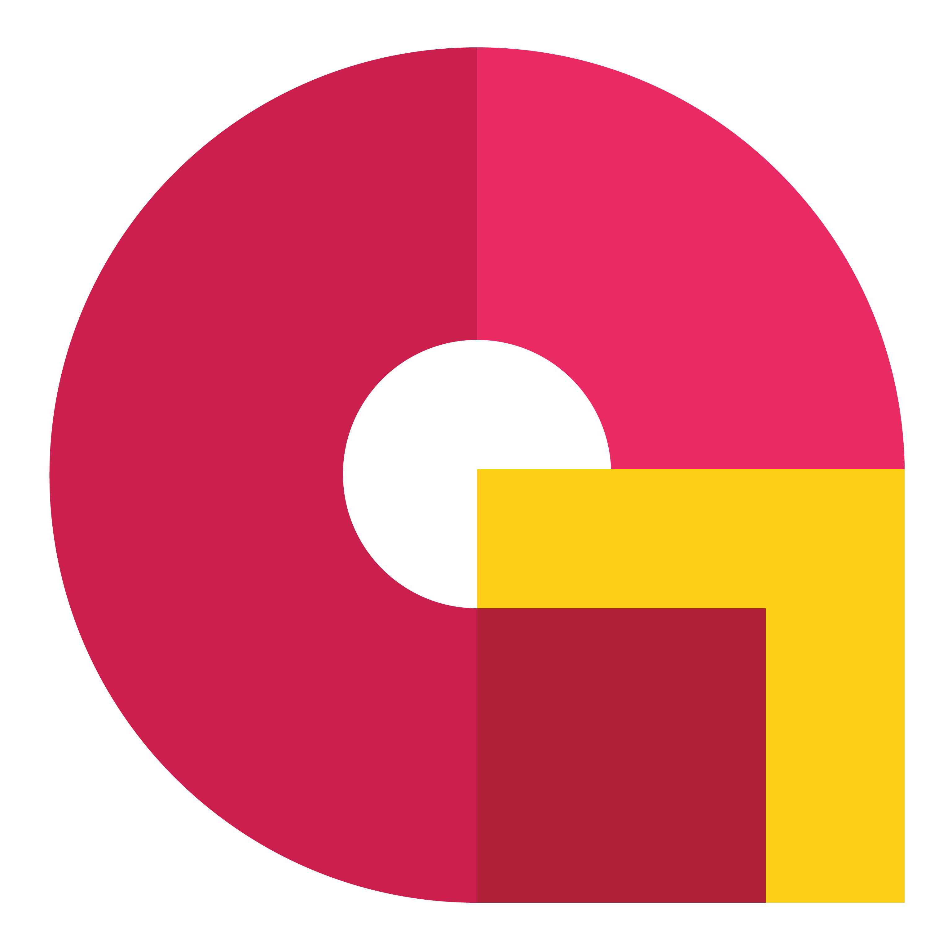 A G in the colours of red, pink, maroon and yellow